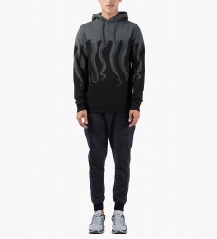 OCTOPUS Black/Dark Grey Cotton Hooded Sweater Model Picutre