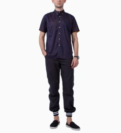 Mark McNairy Navy/Yellow SS BD REVERSIBLE MESH SHIRT Model Picutre