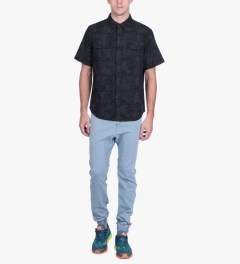 HUF Black Shell Shock Camo S/S Woven Shirt Model Picutre