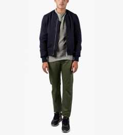Naked & Famous Khaki Green WeirdGuy Selvedge Jeans Model Picutre