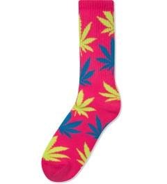 HUF Neon Pink Neon Plantlife Crew Socks Picutre