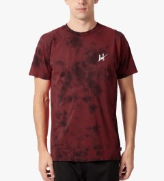 HUF Red Small Script Crystal Wash T-Shirt Model Picutre