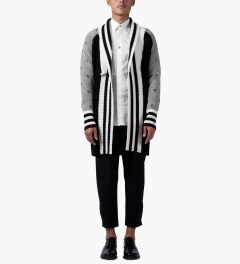 Munsoo Kwon Black/White Combo Keyholes Cable Long Shawl Cardigan Model Picutre