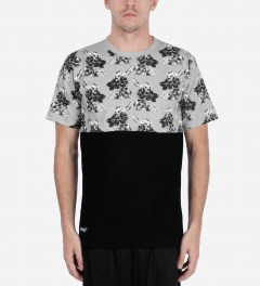 Cityfellaz Gray/Black Half Shirt Flower T-Shirt Model Picutre