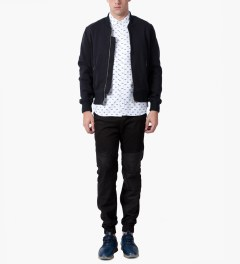 MKI BLACK Navy Sweatshirt Bomber Jacket Model Picutre