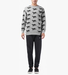 Rockwell by Parra Heather Grey Downhill Horse Crewneck Sweater Model Picutre