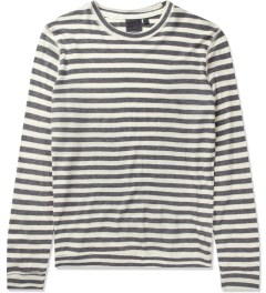 Naked & Famous Grey/Ivory Slim Crewneck Striped T-Shirt Picutre
