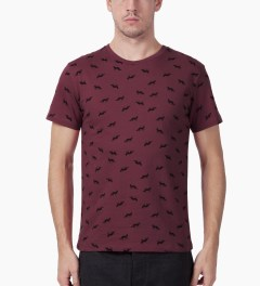 Maison Kitsune Burgundy All-over Multi Fox Crewneck T-Shirt Model Picutre