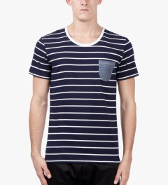 Shades of Grey by Micah Cohen Sailor Stripe/White Low Crewneck T-Shirt Model Picutre