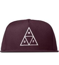 HUF Burgundy Triple Triangle Snapback Cap Picutre