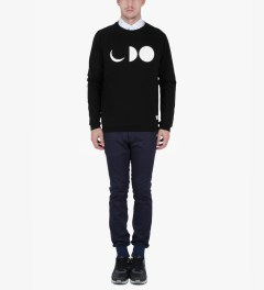 Libertine-Libertine Black/White Grill Half-Moon Sweatshirt Model Picutre