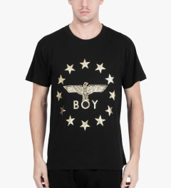 BOY London Black/Gold Boy Globe Star T-Shirt Model Picutre