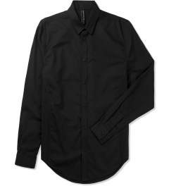 Rochambeau Black Mesh Panel Button Down Shirt Picutre
