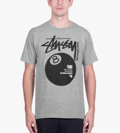 Stussy Heather Grey Worldwide 8 Ball T-Shirt Model Picutre