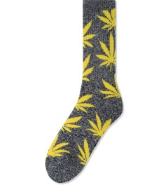 HUF Black/Heather/Yellow Plantlife Crew Socks Picutre