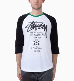 Stussy Black Baseball WT Raglan T-Shirt Model Picutre