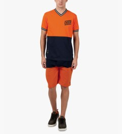 10.Deep Orange Split Sweatshorts Model Picutre