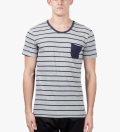 Shades of Grey by Micah Cohen Grey Navy Stripe/Navy Low Crewneck T-Shirt Model Picutre