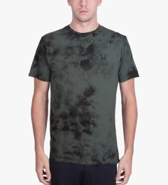 HUF Black Small Script Crystal Wash T-Shirt Model Picutre