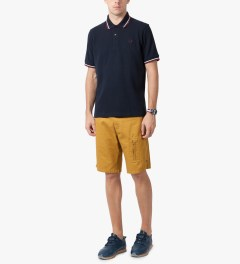 Fred Perry Navy/Snow White/Maroon M12 Original Twin Tipped Fred Perry Polo Shirt Model Picutre