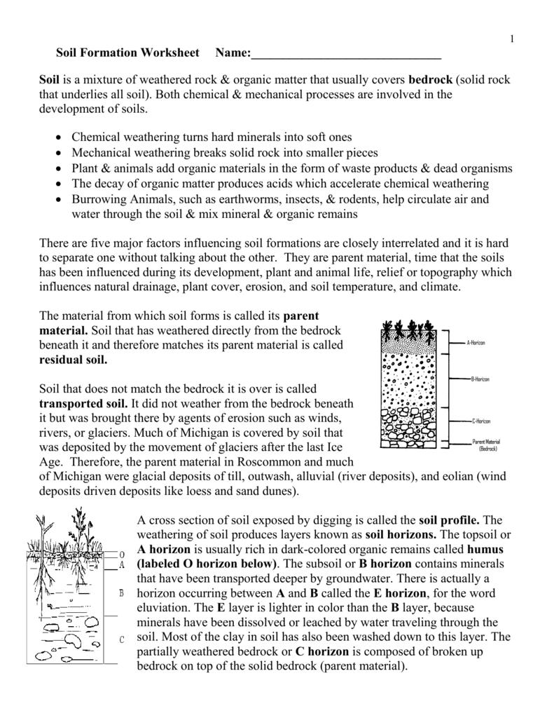 Soil Formation Worksheet. Worksheets. Ratchasima Printable