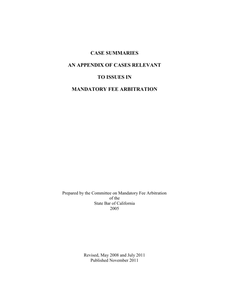 California State Bar Summaries Of Cases The State Bar Of California