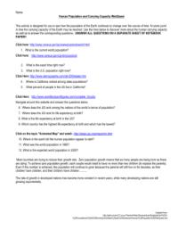 Carrying Capacity Worksheet - Bluegreenish