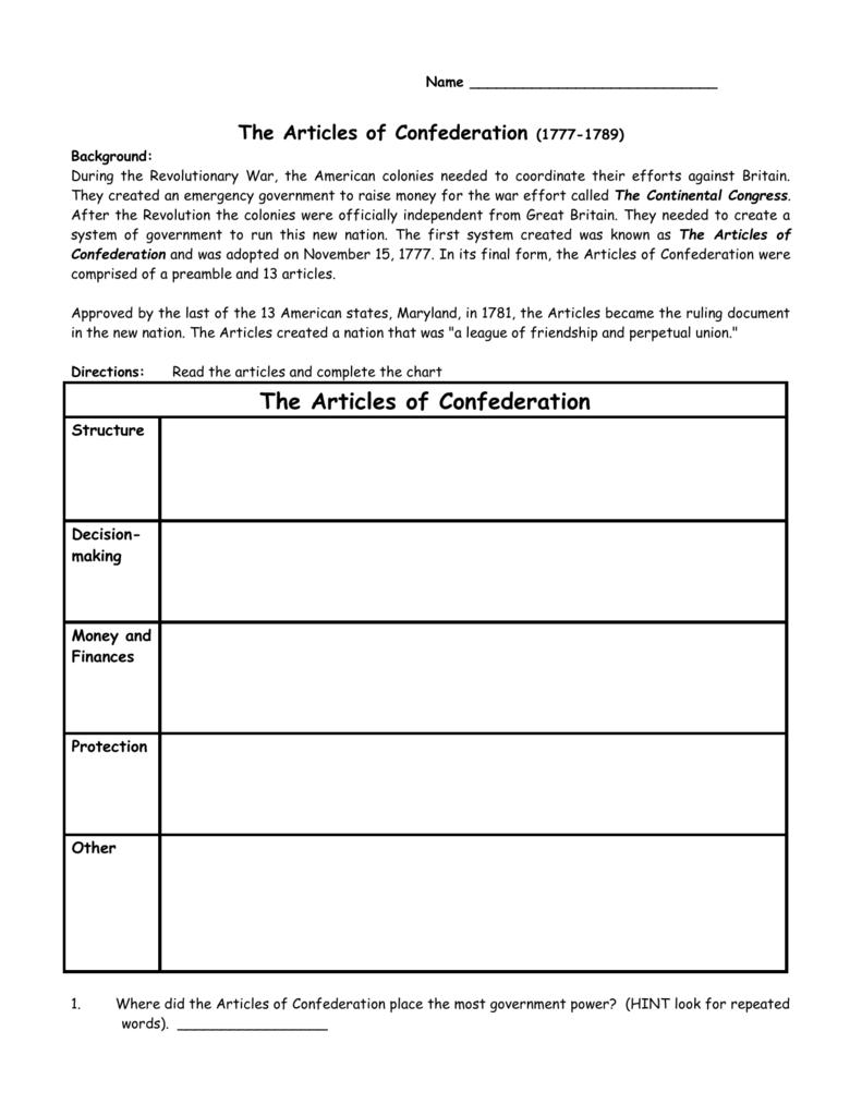 Good Articles Of Confederation Worksheet