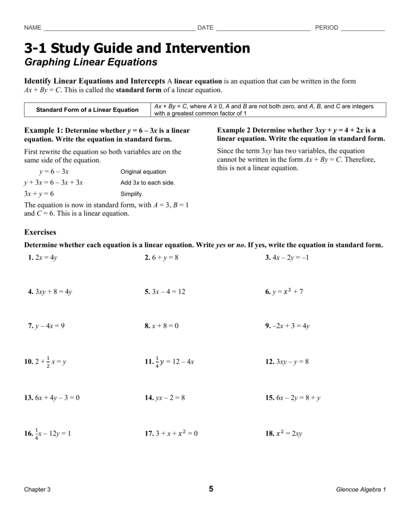 Study Guide 3 3 1 Study Guide And Intervention Graphing Linear Equations