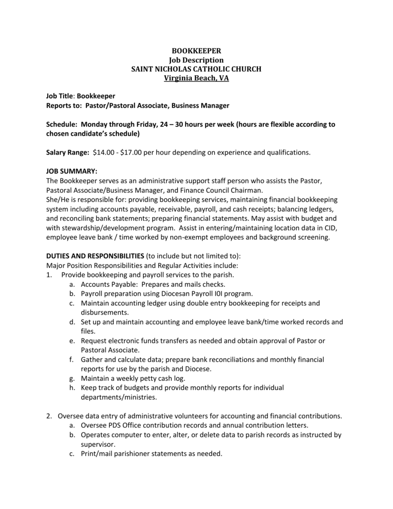 church bookkeeper sample resume naval architect cover letter