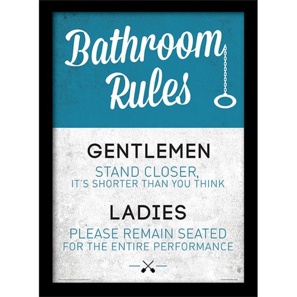 Bathroom rules framed 30x40cm print homeware thehut com