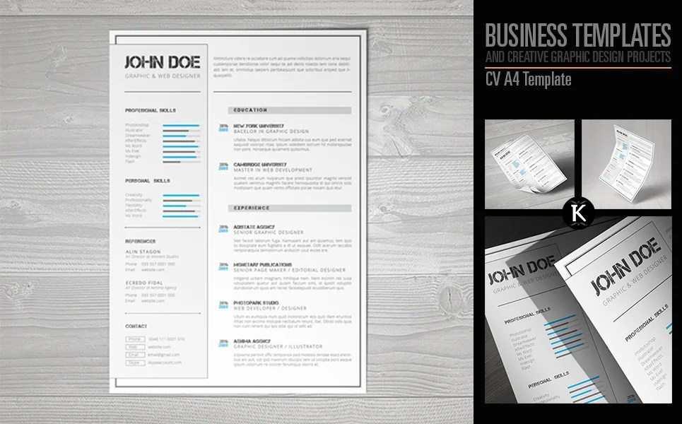 CV A4 Format inDesign Resume Template #65326 - indesign resume templates