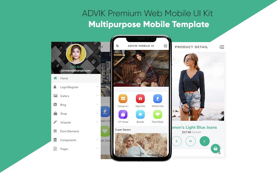 ADVIK Premium Web Mobile UI Kit App Template #67114