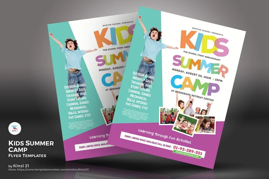 Kids Summer Camp Flyers PSD Template #67234 - Summer Camp Flyer Template