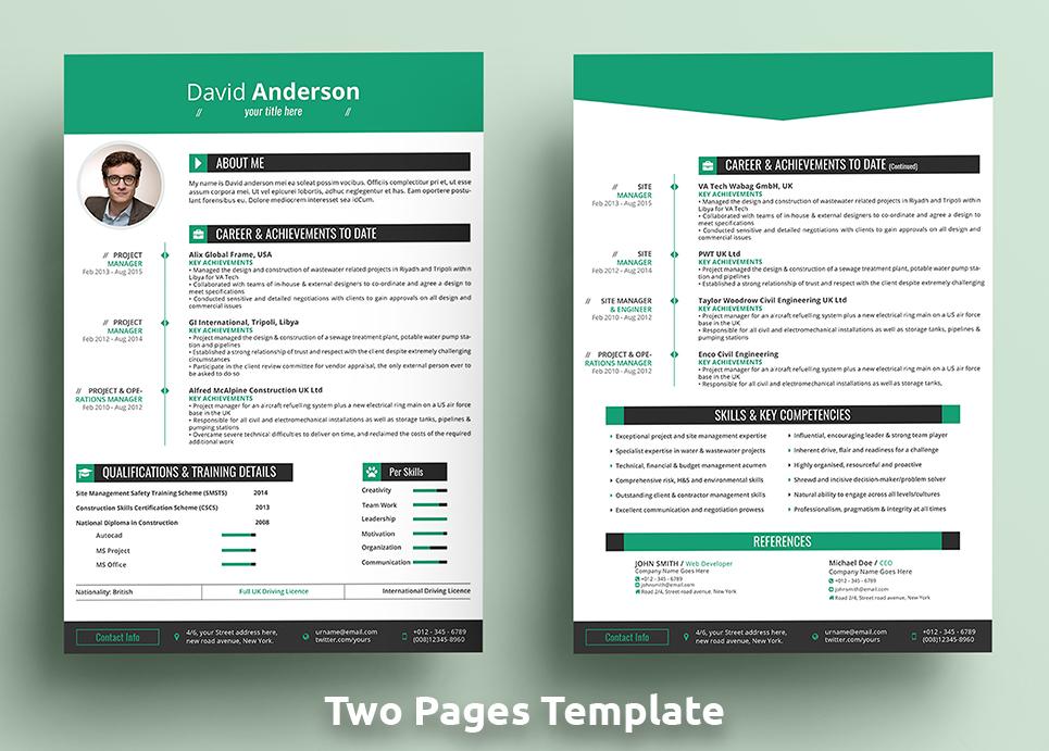 David Anderson CV - Professional MS Word Format Resume Template #68386