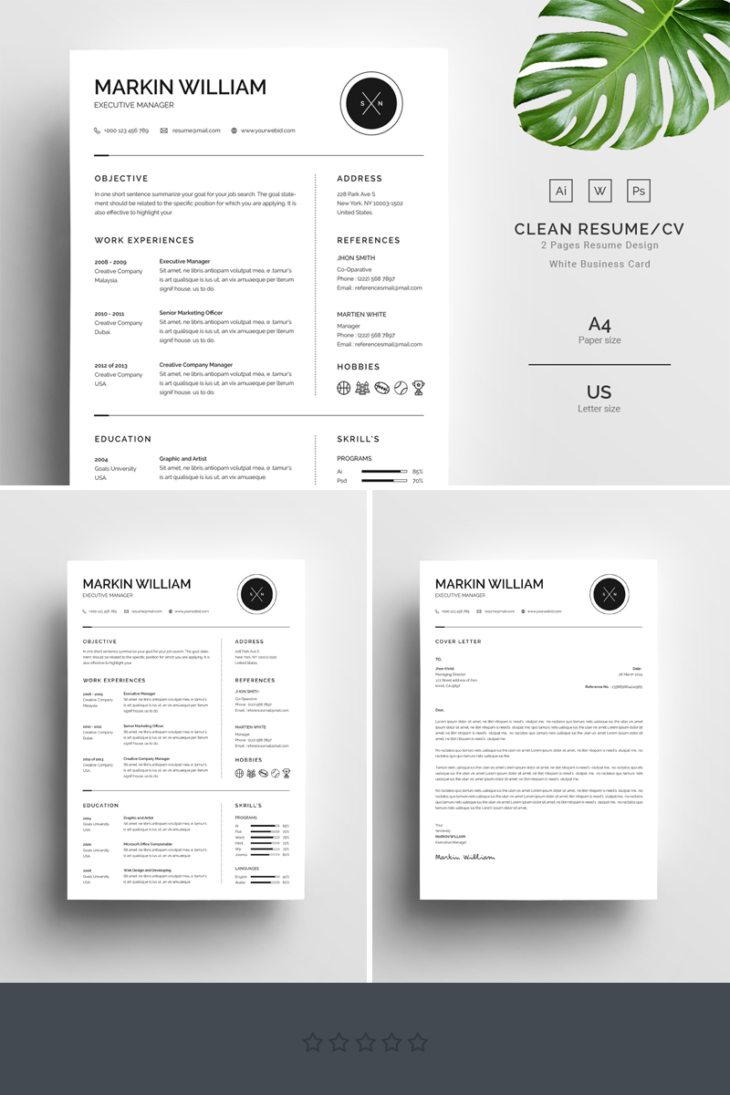 minimal cv template indesign