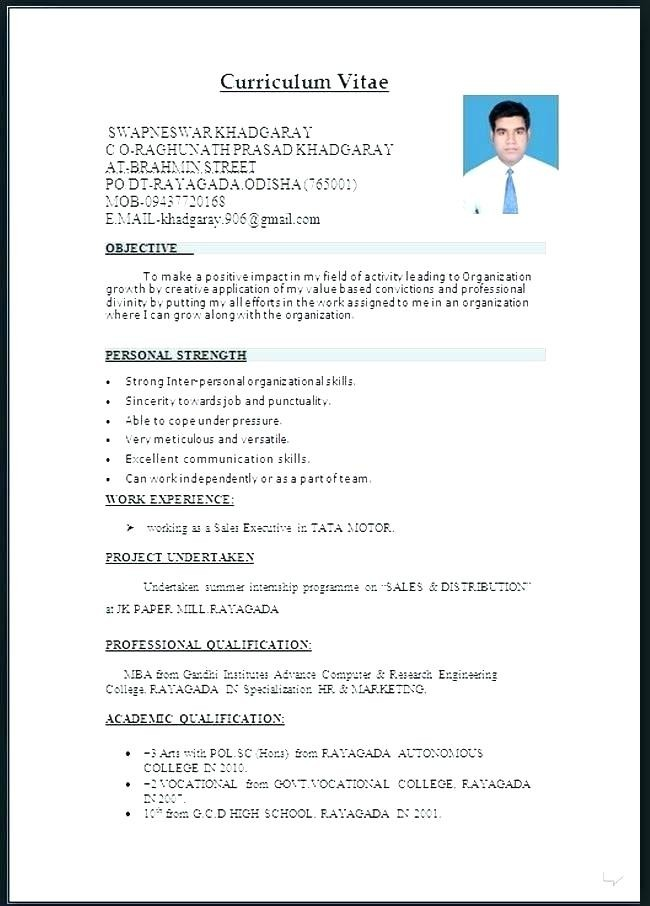 32 Schön Curriculum Vitae format Download In Ms Word for Fresher