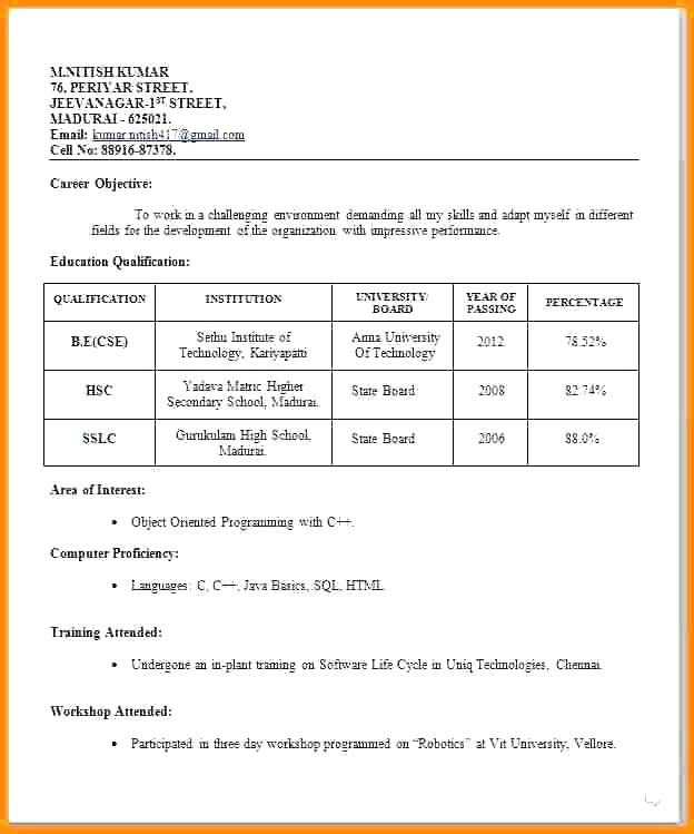 Cv format for Job Pdf Free Download