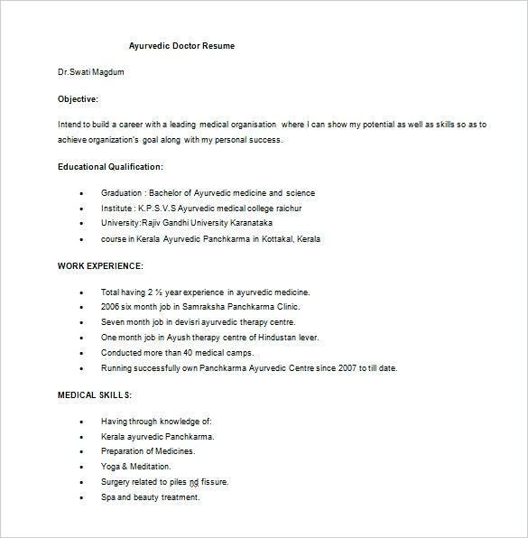 Cv format Doctors India