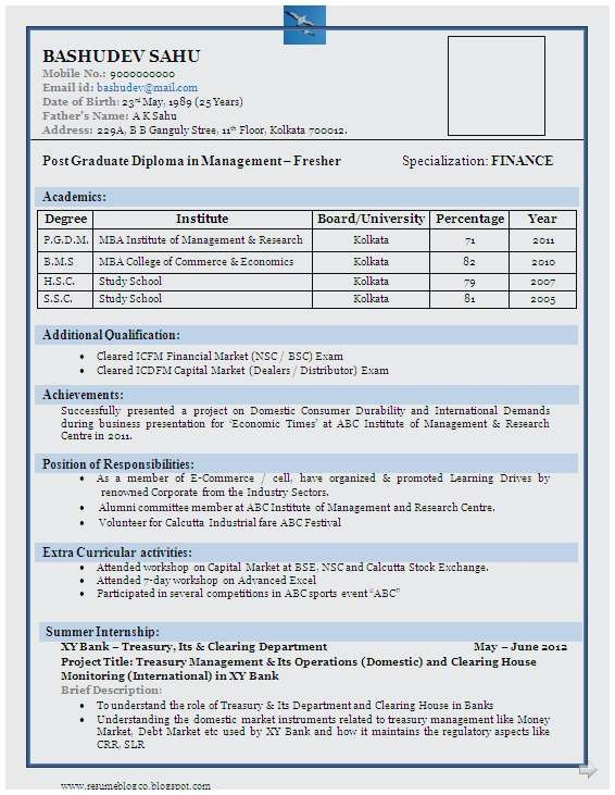 Cv format for Mba Freshers In Word