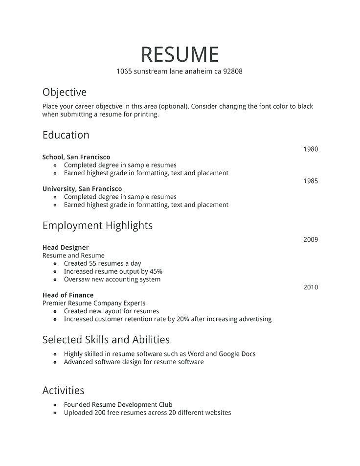 Cv format Pdf for Job