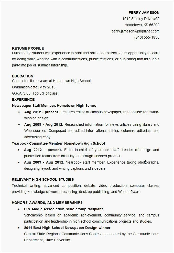 Cv Template Student Internship