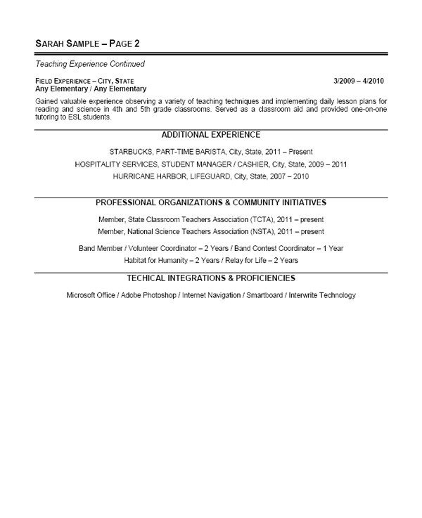 English Teacher Cv Sample Pdf