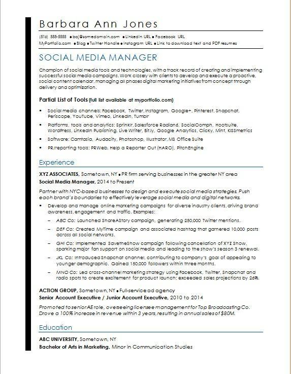Sales Manager Cv Example Neu social Media Resume Sample