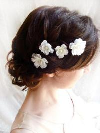 White Flower Hair Pins, White Bridal Hair Accessories