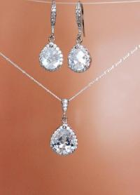 Cubic Zirconia Crystal Drop Wedding Earrings And Necklace ...