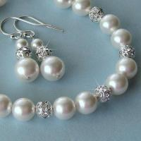 Bridal Pearl Bracelet And Earrings Set - Pearl And Crystal ...