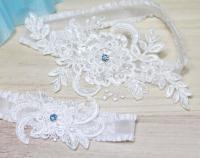 Wedding Garter - Something Blue Garter Set, Lace Garter ...