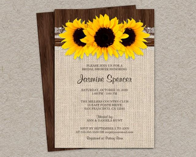 Rustic country sunflower bridal shower invitations diy