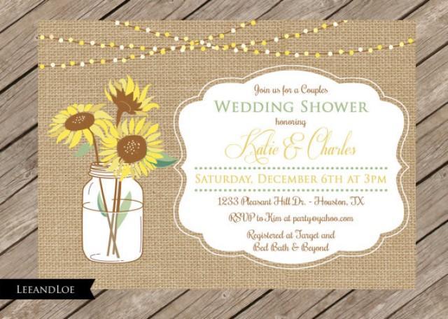 Rustic Couples Or Coed Wedding Shower Invitation-Burlap, Sunflowers